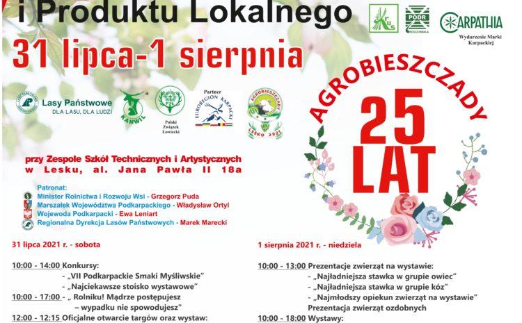 AGROBIESZCZADY 2021 – XXV Targi Turystyki, Leśnictwa, Łowiectwa i Produktu Lokalnego 31 lipca – 1 sierpnia 2021